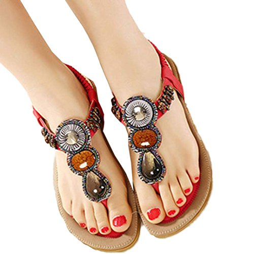 ❀Todaies Hot Sale Women Fashion Sandals Sweet Beaded Clip Toe Flats Bohemian Herringbone Sandals 2018 (US 7, Red) -
