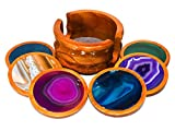 Agate Coaster Set with Wooden