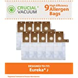 9 Eureka Type-J Allergen-rated Paper Vacuum Bags for Eureka Everpure Upright Vacuums; Compare to Eureka Part Nos. 61515, 61995; Designed & Engineered by Crucial Vacuum