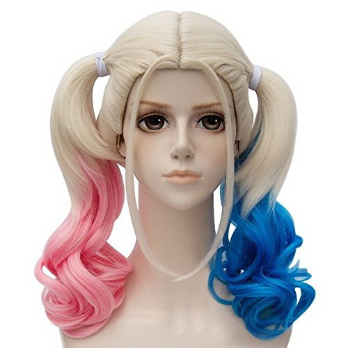 [Xcoser Suicide Cosplay Squad Harley Quinn Films Pink Blue Gradient Ponytail Wig] (Harley Quinn Cosplay Wig)