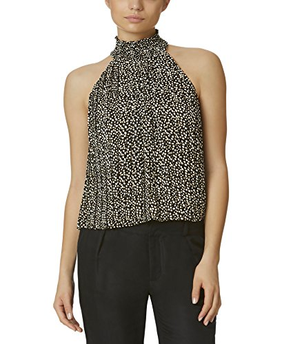Black Pleated Satin Halter (Avec Les Filles Joyce Azria Pleated Halter Top (Black/White) Size XS)