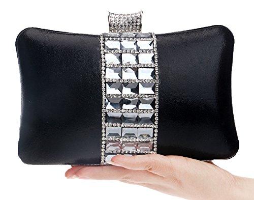 strass Santimon removibile 3 con scintillanti tracolla Buste colori Clutch con Womens Nero cristalli Pochette Buste gqrwIRq