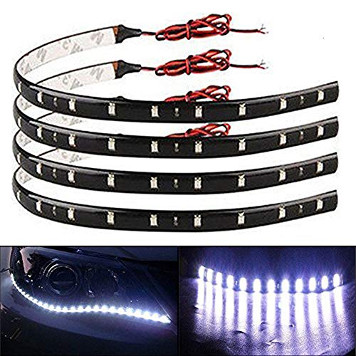 (EverBright 30CM 5050 12-SMD DC12V 4 Pieces Waterproof LED Strip light, for Car Interior & Exterior Decoration DRL Day Running Light, White)
