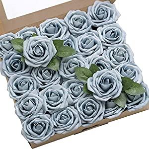 Ling's moment Artificial Flowers 50pcs Celestial Blue Roses w/Stem for DIY Wedding Bouquets Centerpieces Bridal Shower Party Home Decorations 19