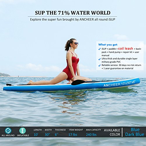 ANCHEER Inflatable SUP Stand Up Paddle Board 10', iSUP Package w/Adjustable Paddle, Coil Leash, Pump and Backpack
