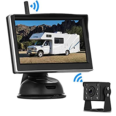 Digital Wireless Backup Camera High-Speed Observation System for RVs,Cars,Trailers,Trucks,5th Wheel with 5''HD Monitor Rear/Side/Front View Continous/Reversing Use Guide Lines ON/Off IP69K Waterproof: Car Electronics