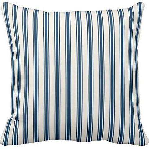 Classic Ticking Stripe Pattern Navy and Cream pillowcase Pillow shams case Cushion Cover 22*22 (Ticking Classic Stripe)