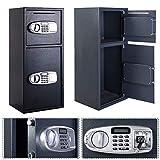 Cash Box Medium Steel Safe Key Lock Home Security Tray Handle Money Coin Black