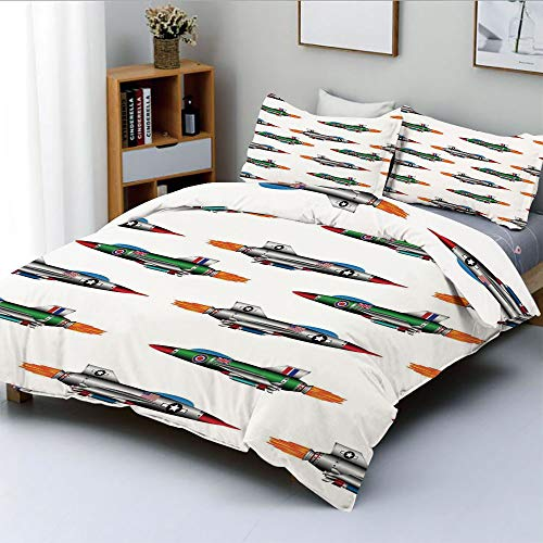 Panel 1 Digital Jet Duplex - Duplex Print Duvet Cover Set King Size,Collection of Jet fighters Rocket Aviation Attack Fire Bombers Missile Modern UK Model PrintDecorative 3 Piece Bedding Set with 2 Pillow Sham,Multi,Best Gift For