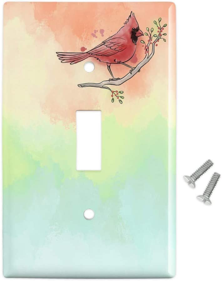 Amazon Com Graphics More Northern Cardinal Watercolor Northeastern Bird Plastic Wall Decor Toggle Light Switch Plate Cover Furniture Decor
