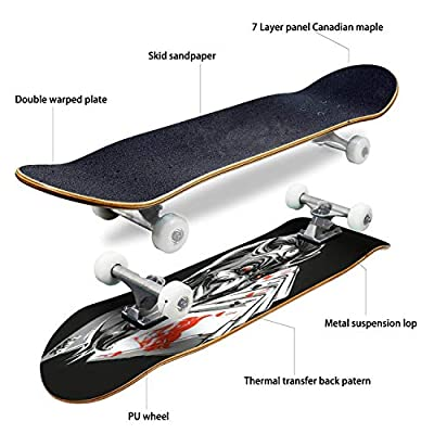 Classic Concave Skateboard Vector Laughing Devil Longboard Maple Deck Extreme Sports and Outdoors Double Kick Trick for Beginners and Professionals : Sports & Outdoors