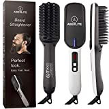 Aberlite Beard Straightener for Men (2019) Beard Straightening Heat Brush Comb Ionic - Electric Dual Voltage (100V-240V) - For Home & Travel