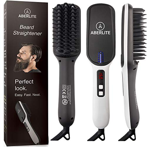Aberlite Beard Straightener for Men (2019) Beard Straightening Heat Brush Comb Ionic - Electric Dual Voltage (100V-240V) - For Home & Travel