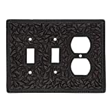 Vicenza Designs WPJ7015 San Michele Wall Plate with Jumbo Double Toggle and Outlet Opening, Oil-Rubbed Bronze