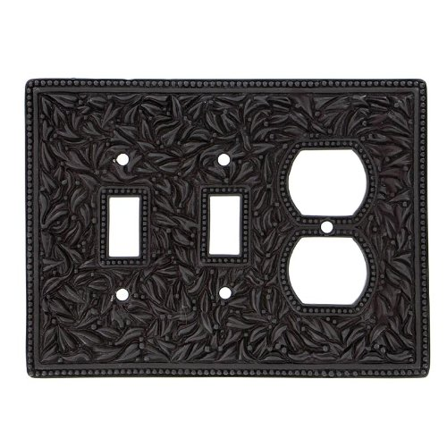 Vicenza Designs WPJ7015 San Michele Wall Plate with Jumbo Double Toggle and Outlet Opening, Oil-Rubbed Bronze by Vicenza Designs