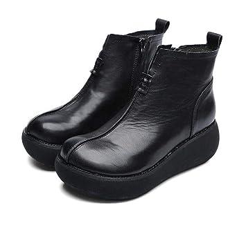 Grueso De Fondo De La Plataforma Zapatos Botines Mujeres Dedo del Pie Redondo Cuña Tacón Estilo Chino Zapatos De Vestir OL Corte Zapatos UE Tamaño 34-40: ...