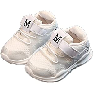 [CAIXINGYI] 春秋 新品 子供靴 運動靴 女の子 1-6歳 白靴 韓国 ファッション ガールズ ボーイズ 赤ん坊 赤ちゃん 靴 レジャー (内長 14.5 cm, 白)