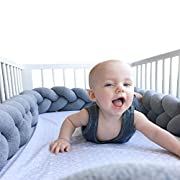 LOAOL Baby Crib Bumper Knotted Braided Plush Nursery Cradle Decor Newborn Gift Pillow Cushion Junior Bed Sleep Bumper (4 Meters, Gray)