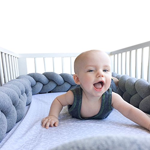 LOAOL Baby Crib Bumper Knotted Braided Plush Nursery Cradle Decor Newborn Gift Pillow Cushion Junior Bed Sleep Bumper (3 Meters, gray)