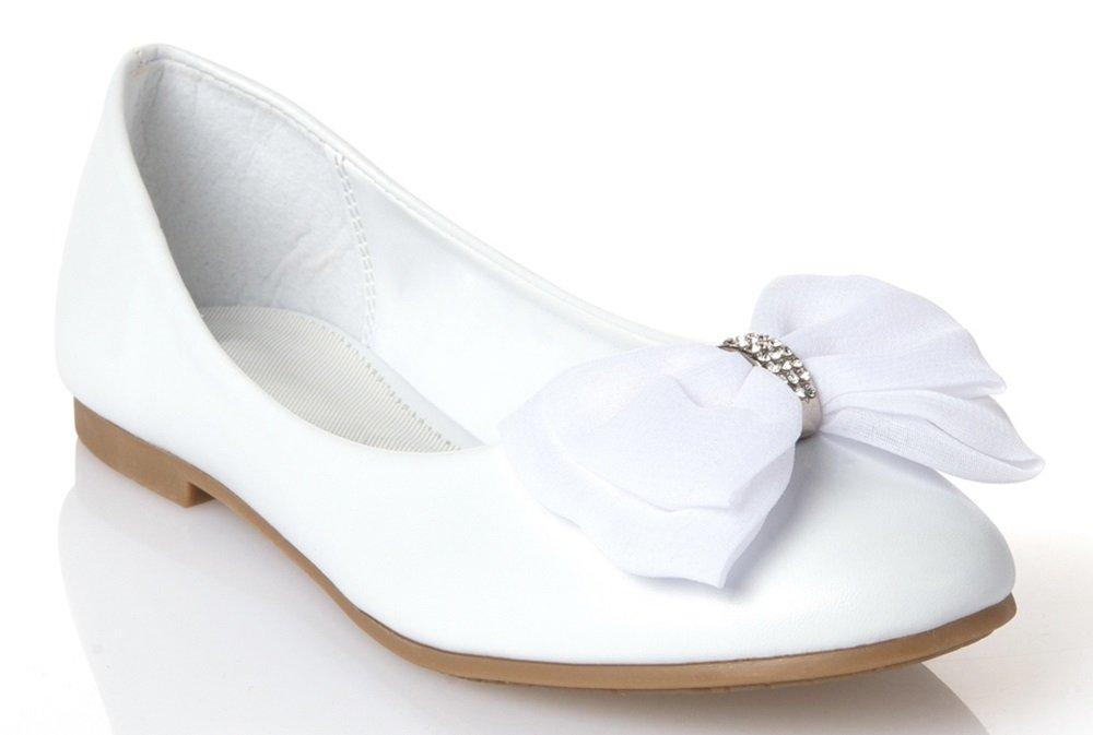 OLIVIA K Girls Stylish Leather Patent Flats with A Chiffon Bow and Cute Faux Ribbon and Rhinestone Heart Flats