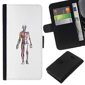 KLONGSHOP // Tirón de la caja Cartera de cuero con ranuras para tarjetas - medicina anatomía médico cirujano esqueleto - Sony Xperia M2 //
