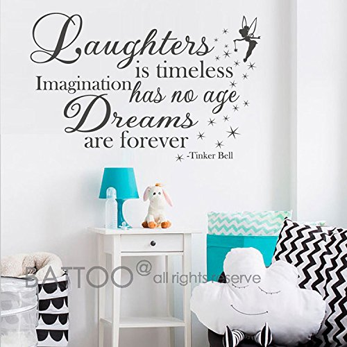 BATTOO Vinyl Wall Decal Quote Laughter is Timeless, Imagination has no Age, Dreams are Forever - Fairytale Vinyl Wall Saying Baby Nursery Kids Wall Decals(Black, 34