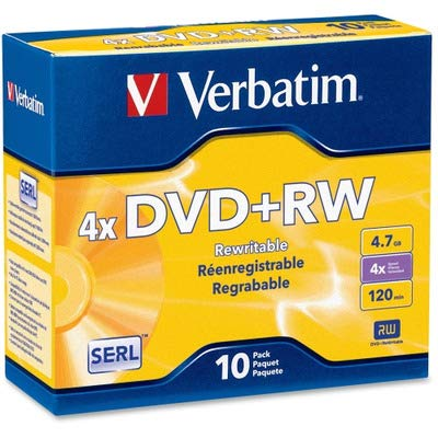 (Verbatim DVD+RW, 94839, 4.7GB, 4X, Branded, 10PK Jewel Case, TAA [Non - Retail Packaged])