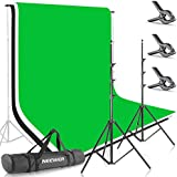 Neewer 8.5ft X 10ft/2.6M X 3M Background Stand Support System with 6ft X 9ft/1.8M X 2.8M Backdrop(White,Black,Green) for Portrait,Product Photography and Video Shooting
