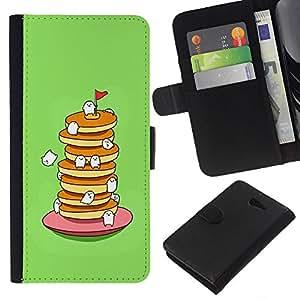 Stuss Case / Funda Carcasa PU de Cuero - Dulce lindo que come el alimento verde - Sony Xperia M2