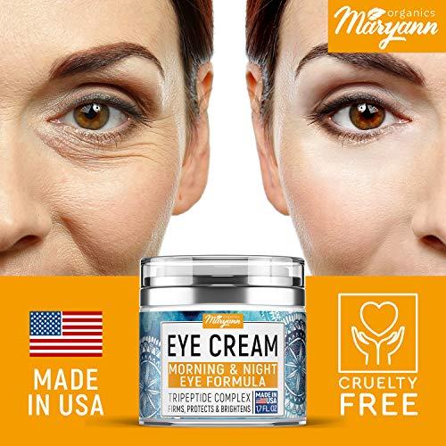 51TxOG8nI3L - MARYANN Organics Eye Cream - Natural Formula with Hyaluronic Acid, Vitamin E & Aloe Vera - Made in USA - Anti Aging Cream for Women - Reduce Dark Circles, Puffiness, Under Eye Bags, Wrinkles - 1,7 OZ