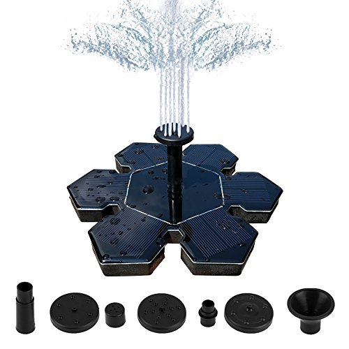 (MALENOO Solar Fountain Pump,Snowflake Shape 1.5W Free Standing Solar Fountain Water Pumps)