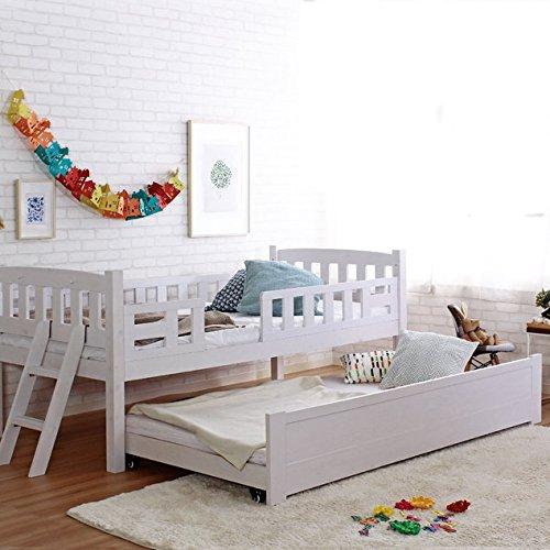 木製 2段ベッド スライド式 すのこベッド 高さ調整 キャスター付き ナチュラル B07D8D2B6D ナチュラル ナチュラル