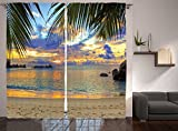 Ambesonne Wildlife Ocean Sea Seashore Curtains for Bedroom Living Room Decorations Summer Home Decor Beach with Palm Trees in Maldives Two Panels Set 108 x 84 Inches, Green Blue Navy Yellow Orange