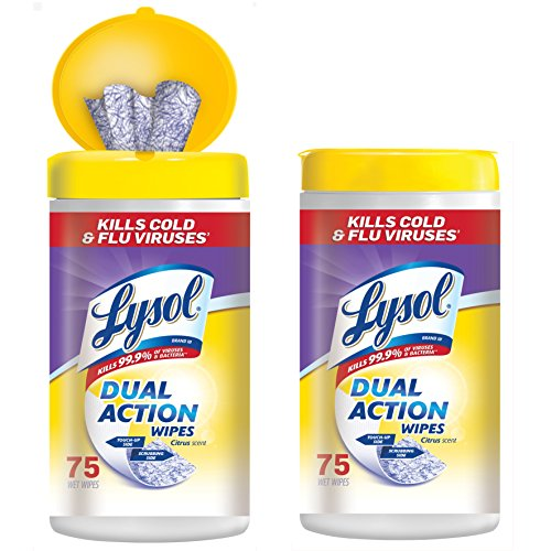 Lysol Dual Action Disinfecting Wipes w. Scrubbing Texture, 150ct (2X75ct) (Dual Action Disinfectant)