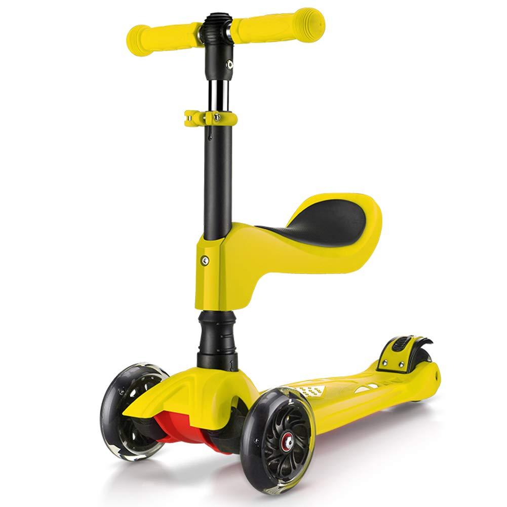大特価!! キックスクーター三輪車スケートボードペダル式乗用スタントスクーター折りたたみ イエロー Tバーハンドル調節可能な座席付きLEDライトアップホイール付き B07H7GZ3YK イエロー いえろ゜ B07H7GZ3YK イエロー イエロー いえろ゜, スマイルわん:d68bea43 --- a0267596.xsph.ru