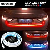AMBOTHER Car Tailgate Strip Light, Universal LED Brake Reverse Rear Turn Signal Running Flowing Emergency Tail Strip Light Bar with Dual Color Waterproof Flexible Multifunction Driving DC 12V