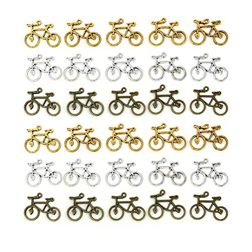 Bicycle Bike Sport Charms, JIALEEY Double Sided Biking Charms Cycling Pendants DIY for Necklace Bracelet Jewelry Making and Crafting, 30PCS -