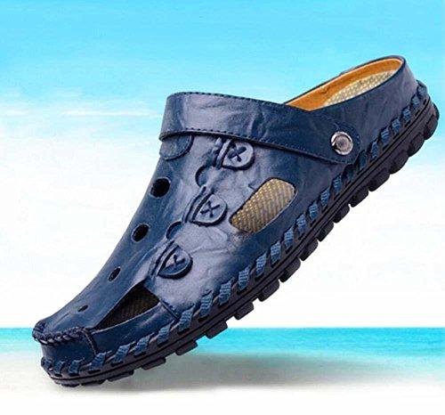 Bomba Hombres Dedo del pie cerrado Al aire libre Deporte Sandalias Zapatillas Hueco Cuero Uso dual Antideslizante Suela blanda Sandalias de playa Zapatos casuales Zapatilla Tamaño de la UE 38-44 Blue