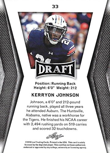Amazon.com  2018 Leaf Draft  33 Kerryon Johnson Auburn Tigers Football  Card  Collectibles   Fine Art cf414d6cc