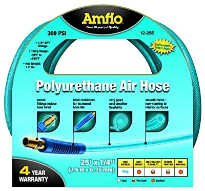 "Amflo 12-25E Blue 300 PSI Polyurethane Air Hose 1/4"" x 25' With 1/4"" MNPT Swivel Ends And Bend Restrictor Fittings from Amflo"