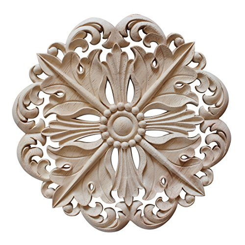 Jiyaru 1pc Wood Carved Flower Decal Unpainted Onlay Applique Furniture Decor 15cm #3