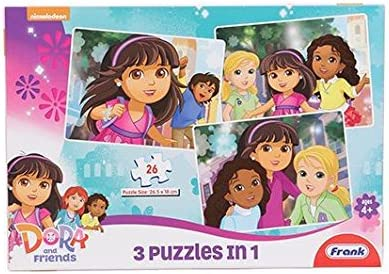 Frank Dora and Friends 3 Puzzles in 1 (26 Pieces)