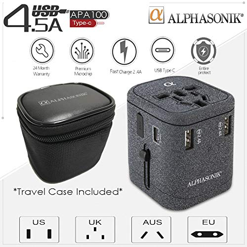 Alphasonik APA100 USB Worldwide Universal International Travel Power Adapter AC Wall Charger Plug 4 USB Ports Type-C Fast Charging 3.0A for USA European Cell Phone Tablet Laptop iPhone W/Travel Case (Best Apple Laptop In India)