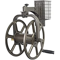 Liberty Garden Products 712 Single Arm Navigator Multi-Directional Garden Hose Reel, Holds 125-Feet 5/8-Inch Hose - Bronze