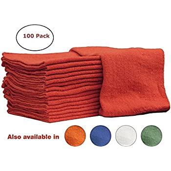 Auto-Mechanic Shop towels 100 Pack, By Nabob Wipers, 100% Cotton Commercial Grade Rags, Perfect for your Home,Garage & Auto 14x14 inches (Red)
