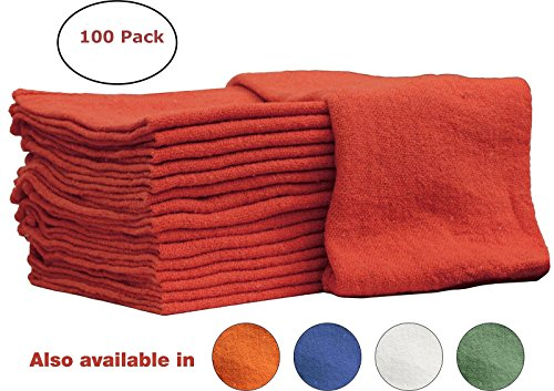 Auto-Mechanic Shop towels 100 Pack, By Nabob Wipers, 100% Cotton Commercial Grade Rags, Perfect for your Home,Garage & Auto 12x12 inches (Red)