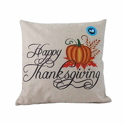 Dolphineshow Happy Thanksgiving Decorations Home Decor Gift Cotton Linen Sofa Decorative Throw Pillow Covers Case 18