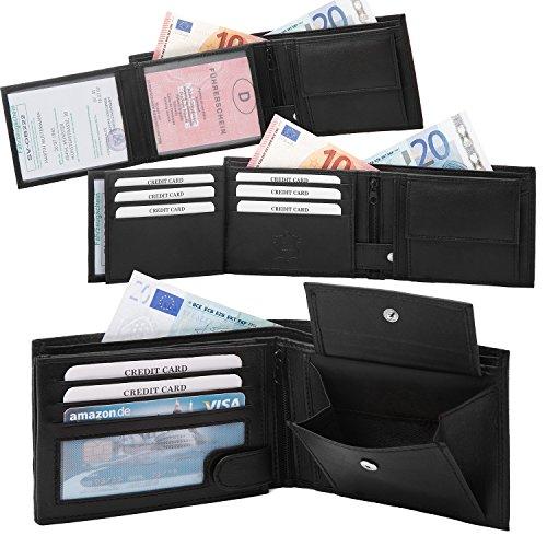 Samtweiche schwarze Herren Ledergeldbörse aus echtem Leder Querformat Portemonnaie Geldbeutel wie #SQ90