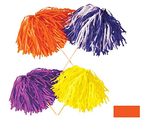 Tissue Shaker - Club Pack of 144 Solid Orange Pep Rally Tissue Shaker Pom Pom Accessories