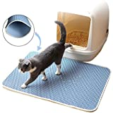 """Bearda Cat Litter Box Mat - Blue 2 Layer Eco-Friendly EVA Cat Litter Trapping Scatter Control/Waterproof Washable Easy Clean Mat Pad for Cat Litter Box, Soft for Kitty Paw, Best Medium 23"""" x 15"""""""